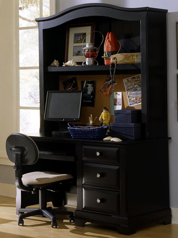 Country Computer Desk shown with optional Hutch in Black