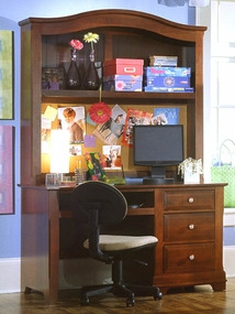 Country Computer Desk shown with optional Hutch in Cherry