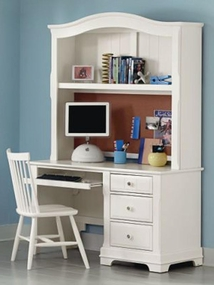 Country Computer Desk shown with optional Hutch in Snow White