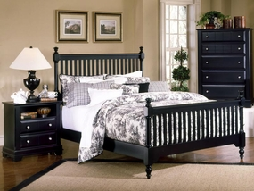 Country Slat Poster Bed in Black
