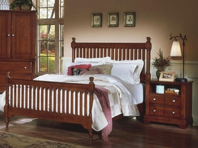 Country Slat Poster Bed shown in Cherry