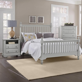 Country Slat Poster Bed in Gray