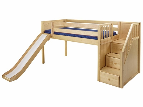 Delicious Low Loft Bed with Slide and Staircase on End
