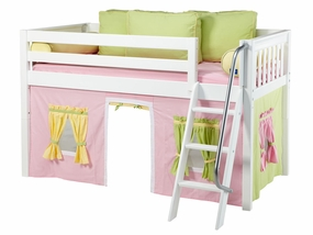 Easy Rider 25 Twin Low Loft with Angled Ladder, PK/GR/YE Curtain