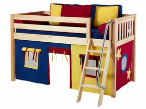 Easy Rider 29 Twin Low Loft Bed with Angled Ladder, BL/RD/YE Curtain
