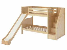 Ecstatic Medium Bunk Bed with Slide and Staircase