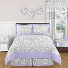Elizabeth Lavender and Gray Kids Bedding Collection