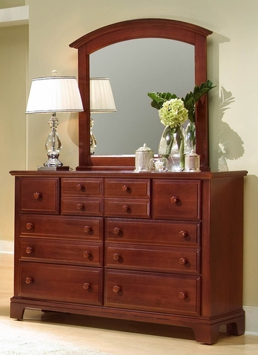 Hamlet 7-Drawer Dresser shown with optional Mirror in Cherry
