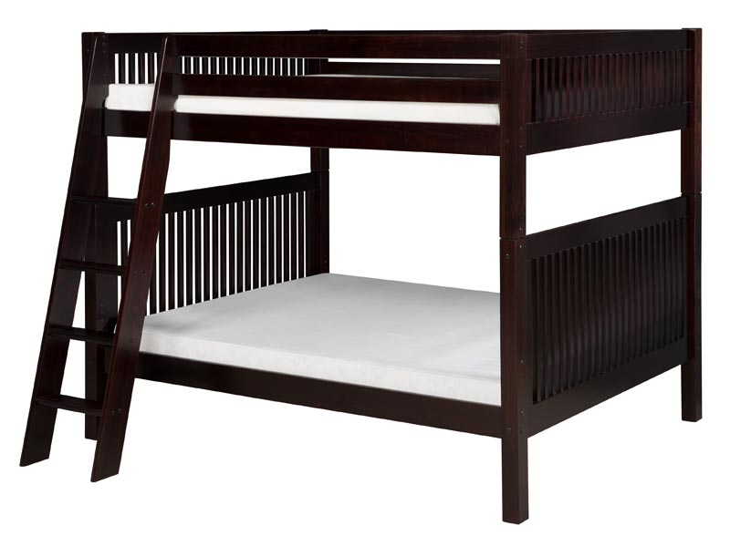 Full/Full Mission Bunk Bed with Angled Ladder in Cappuccino