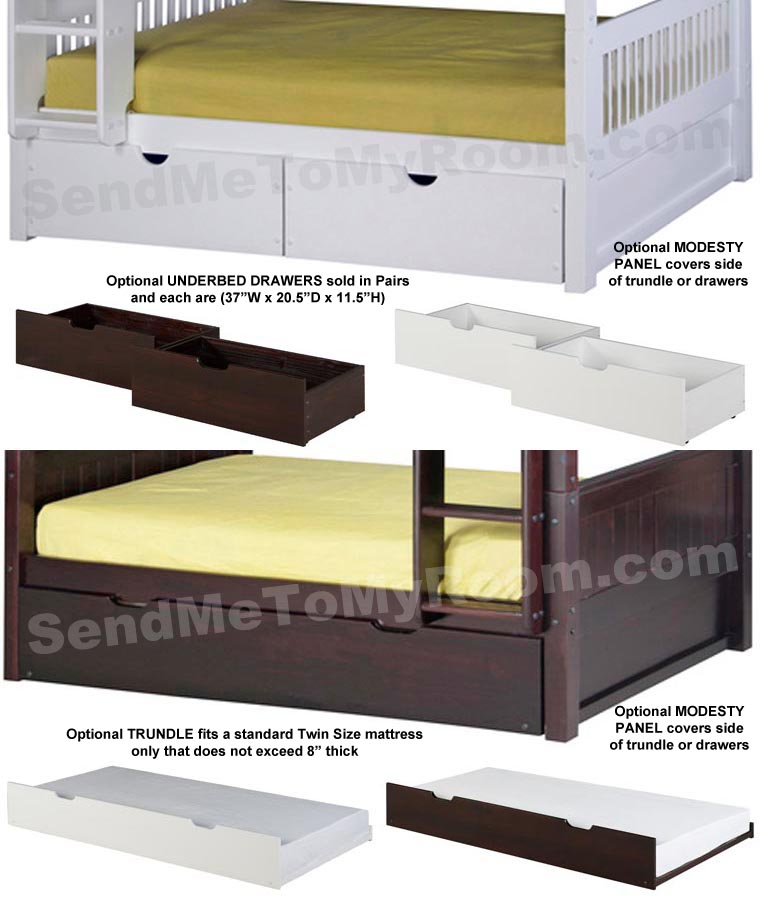 Full/Full Mission Bunk Bed with Straight Ladder in Cappuccino