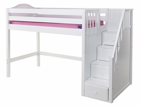 Galant Mid-Height Twin Loft Bed with Staircase on End