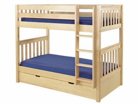 Get It 2A Twin/Twin Medium Bunk Bed with Straight Ladder and Trundle