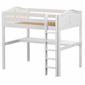 Grand 1 Full High Loft Bed with Straight ladder and Desk Top