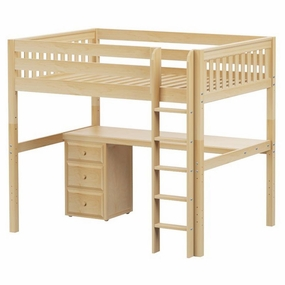 Grand 2 Full High Loft Bed with Straight Ladder, Desk and Drawers