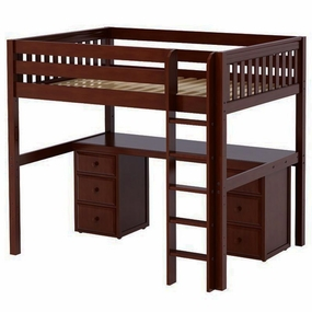 Grand 3 Full High Loft Bed with Straight Ladder, Desk and Drawers