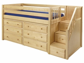 Great 3 Low Loft Storage Bed with 2 Dressers and Stairs