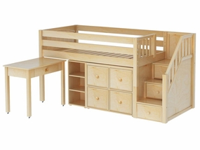 Great 4 Low Loft Storage Bed with Desk, Bookcase and Stairs