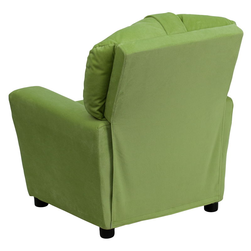 Green kids recliner with cup holder