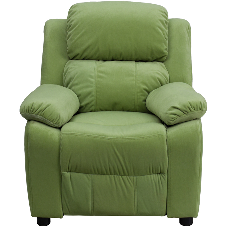 Green kids recliner with storage arms