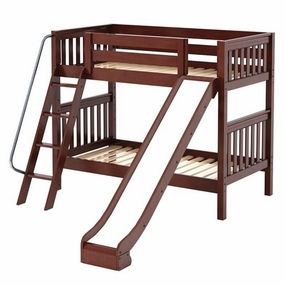Happy Twin/Twin Medium Bunk Bed with Angled Ladder and Slide