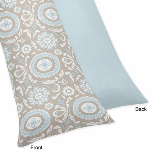 Hayden Blue and Taupe Body Pillow Case