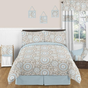 Hayden Blue and Taupe Kids Bedding Collection