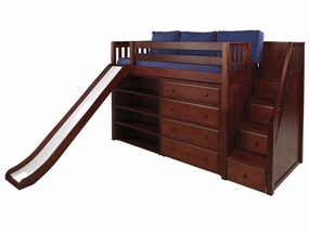 Hero Mid-Height Loft Bed with Stairs, Slide, Chest & Bookcase