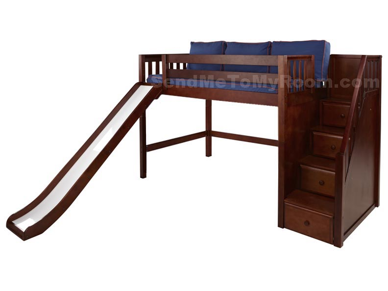 hero midheight loft bed with slide and staircase on end