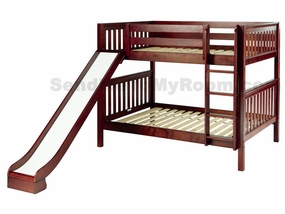 Hip Hip Full/Full Medium Bunk Bed with Slide and Straight Ladder