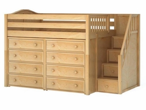 Hit 3 Full Mid-Height Loft Storage Bed with Stairs