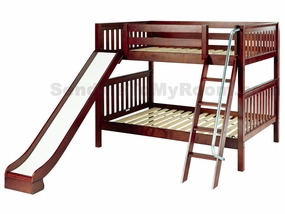 Hooray Full/Full Medium Bunk Bed with Angled Ladder and Slide