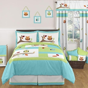 Hooty Turquoise and Lime Kids Bedding Collection