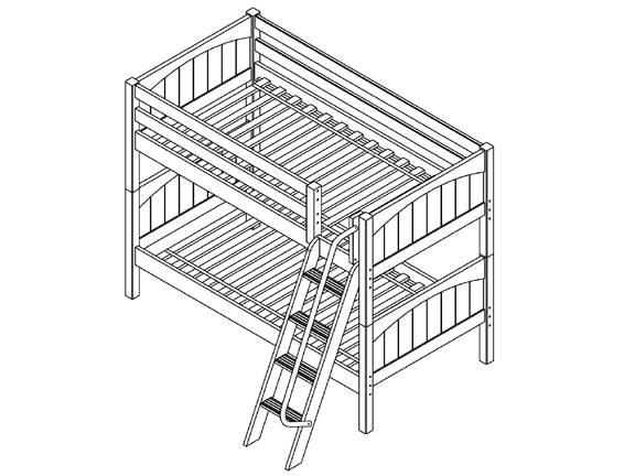 Hot Hot Twin/Twin LOW Bunk Bed with Angled Ladder