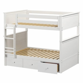 Jackpot Full/Full Panel Bunk Bed with Drawers in White
