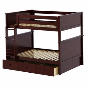 Jackpot Full/Full Panel Bunk Bed with Trundle in Cherry
