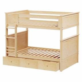 Jackpot Full/Full Panel Bunk Bed with Trundle in Natural