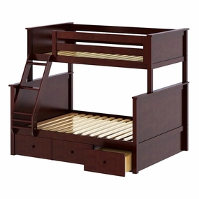 Jackpot Twin/Full Panel Bunk Bed with Drawers in Cherry
