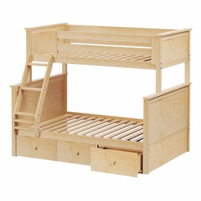 Jackpot Twin/Full Panel Bunk Bed with Drawers in Natural