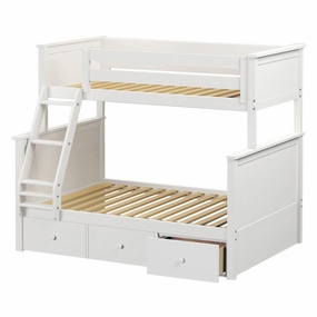 Jackpot Twin/Full Panel Bunk Bed with Drawers in White