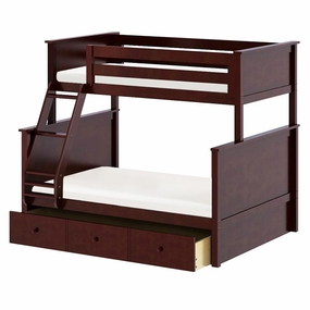 Jackpot Twin/Full Panel Bunk Bed with Trundle in Cherry