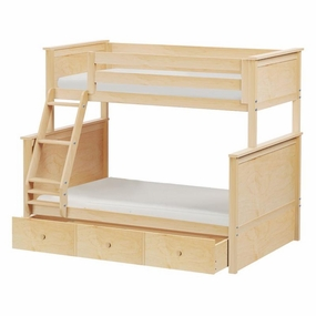 Jackpot Twin/Full Panel Bunk Bed with Trundle in Natural