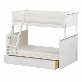Jackpot Twin/Full Panel Bunk Bed with Trundle in White
