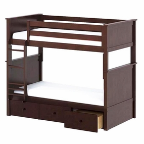 Jackpot Twin/Twin Panel Bunk Bed with Drawers in Cherry