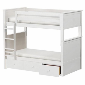 Jackpot Twin/Twin Panel Bunk Bed with Drawers in White