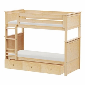 Jackpot Twin/Twin Panel Bunk Bed with Trundle in Natural