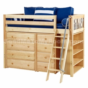Katching 2 Twin Mid-Height Storage Loft Bed with Angled Ladder