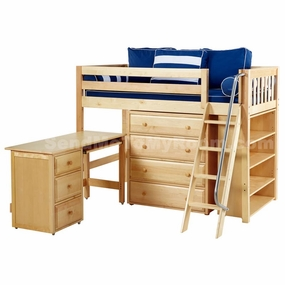 Katching 3 Twin Mid-Height Storage Loft Bed with Desk and Angled Ladder