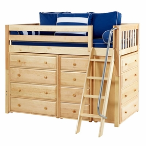 Katching Twin Mid-Height Storage Loft Bed with Angled Ladder