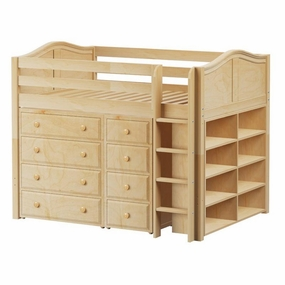 King 1 Full Mid-Height Storage Loft Bed with Straight Ladder