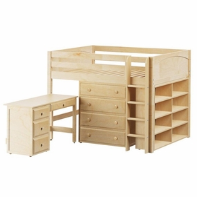 King 2 Full Mid-Height Storage Loft Bed with Straight Ladder